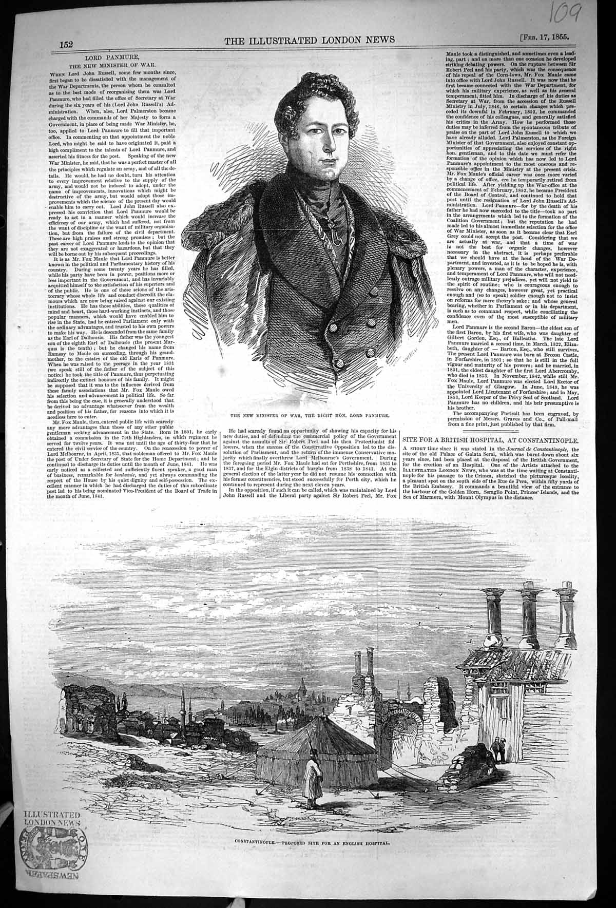 [Print 1855 Minister War Lord Panmure Constantinople English Hospital 109J331 Old Original]