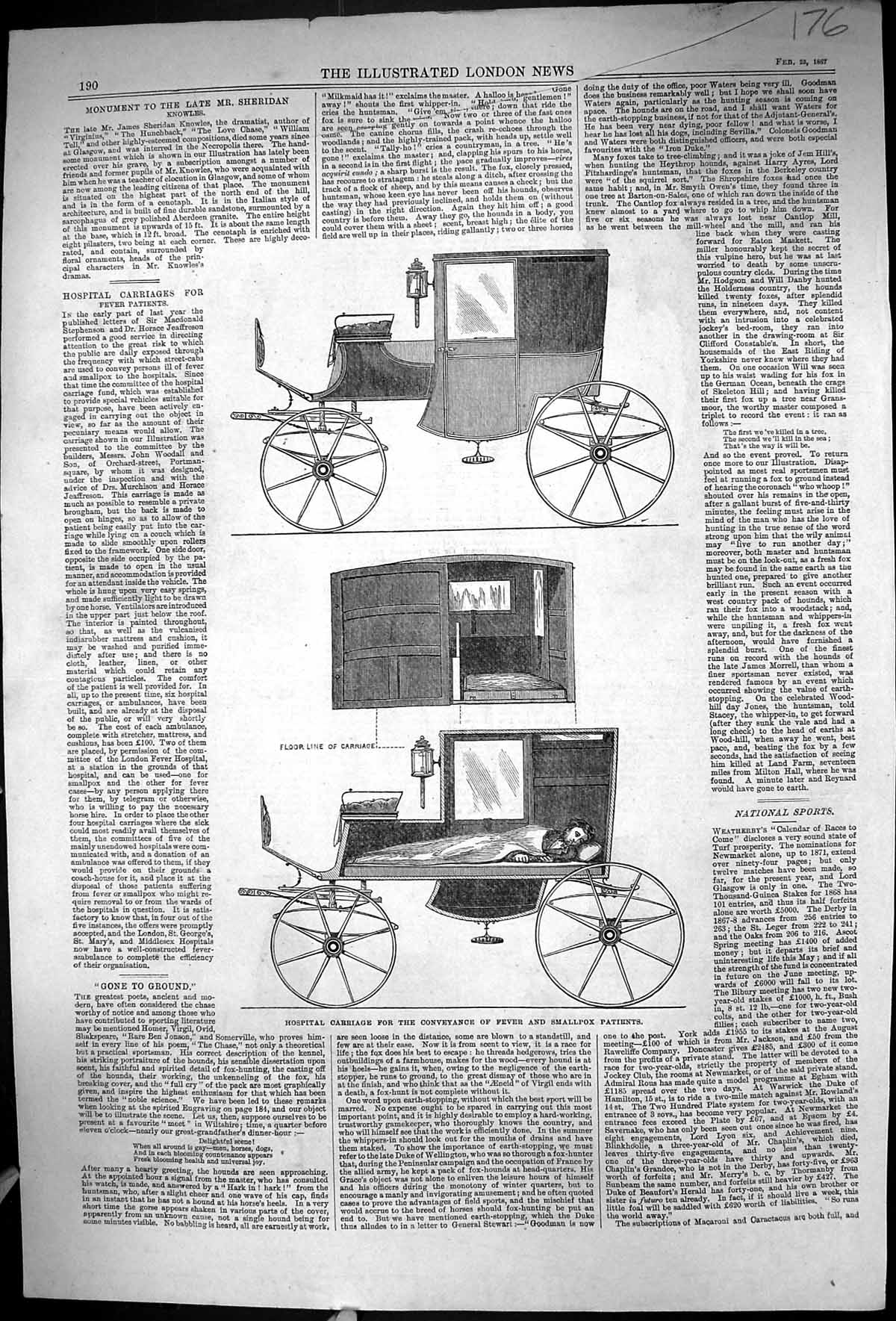 [Print 1867 Hospital Carriage Fever Smallpox Monument Knowles School Ber 176Rj331 Old Original]