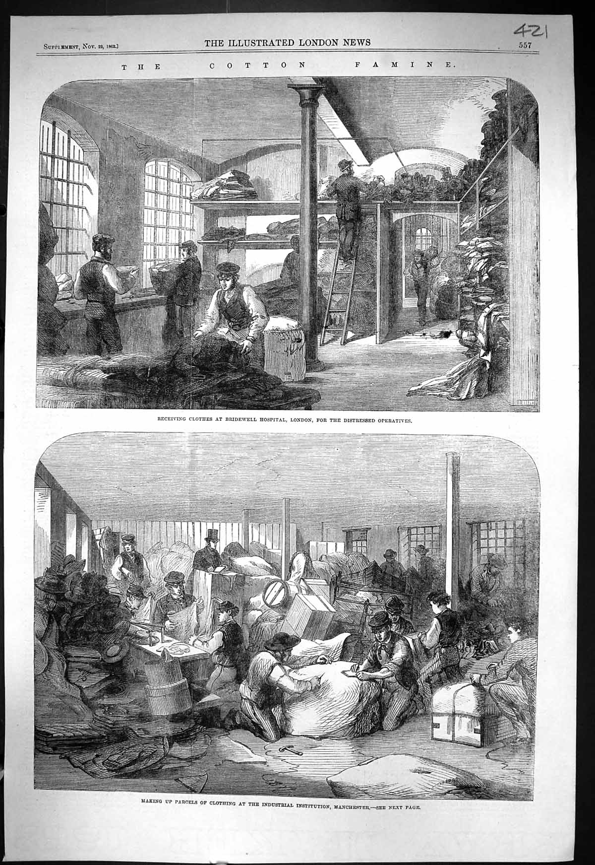 [Print 1862 Cotton Famine Bridewell Hospital London Manchester Provident 421J332 Old Original]