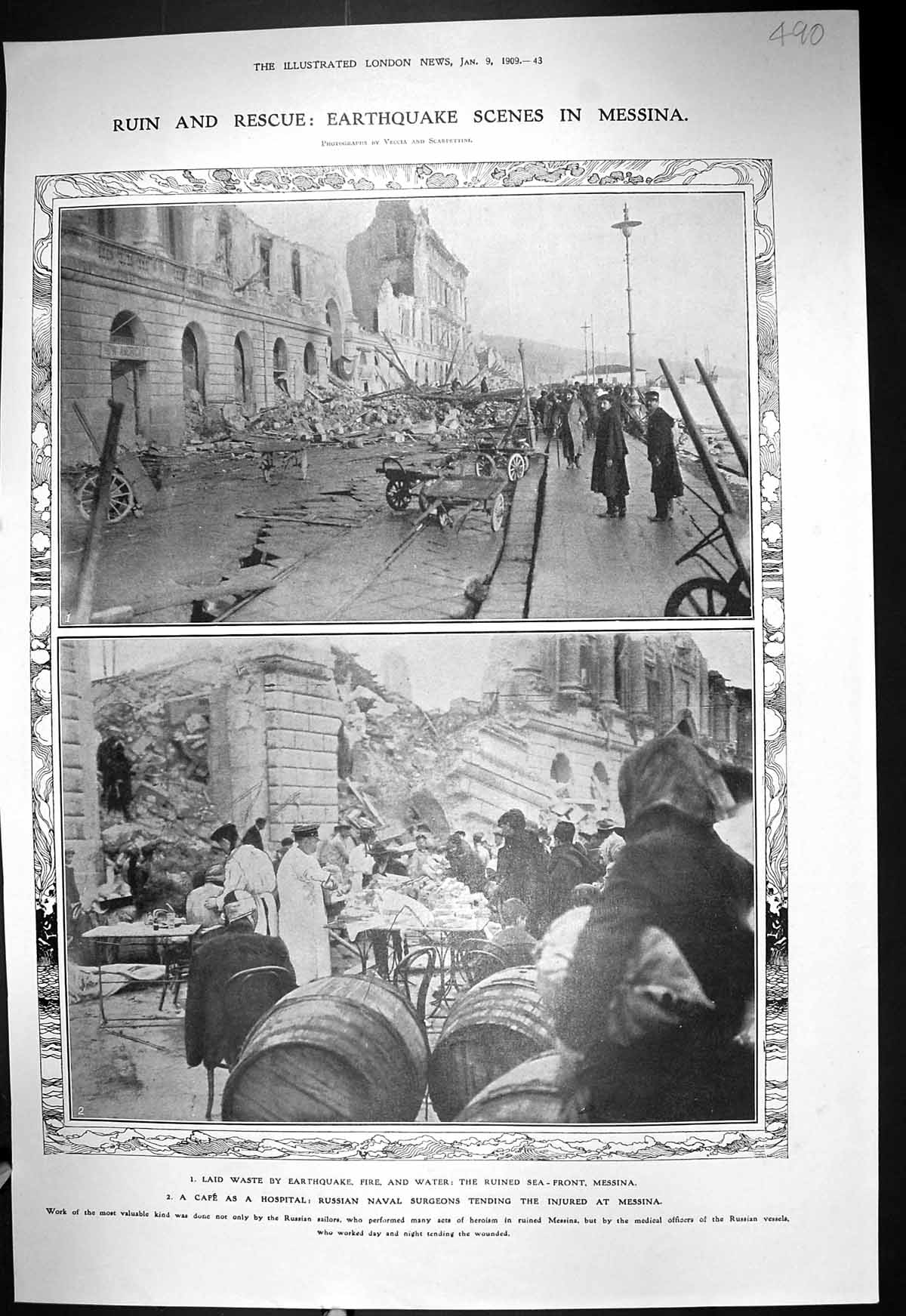 [Print 1909 Earthquake Messina Hospital Russian Naval Surgeons Queen Eug 490J332 Old Original]