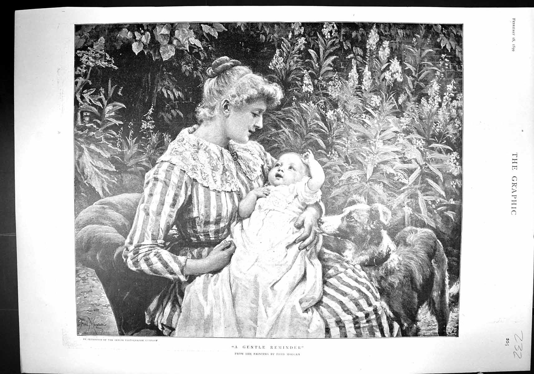 [Print 1899 Gentle Reminder Lady Baby Dog Morgan Andree Polar Expedition 232Rj334 Old Original]