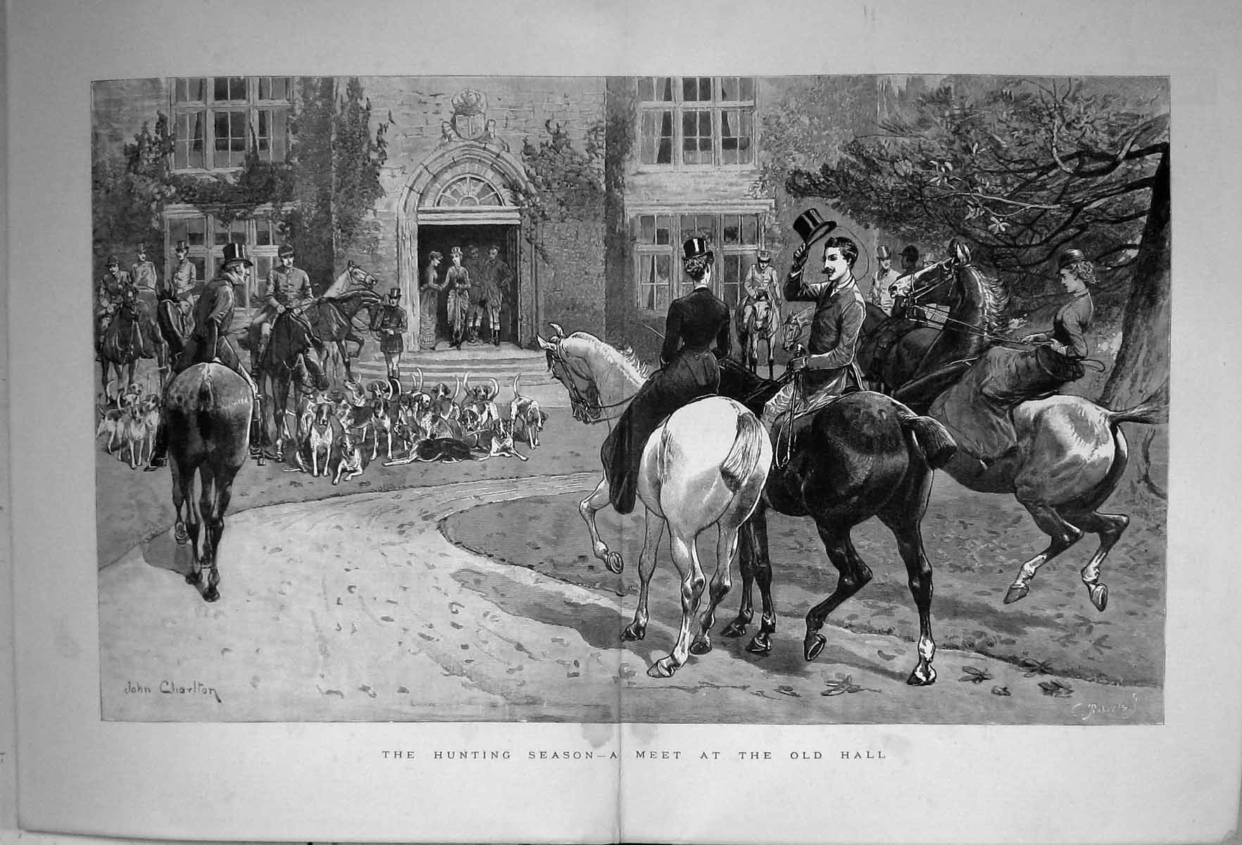 [Print 1886 Hunting Season Meet Hall Huntsmen Horses Hounds Dogs Spo 334J337 Old Original]