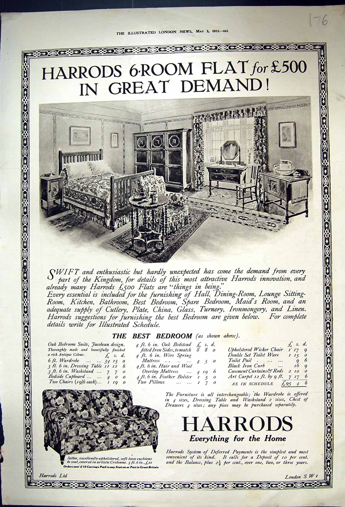 [Print 1919 Harrods Furniture Standard Bank South Africa Gandhi 176J338 Old Original]