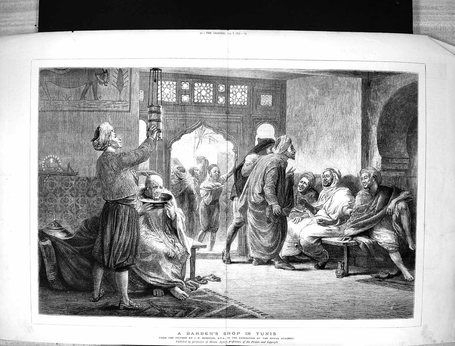 [Print 1875 Scene Barbers Shop Tunis Men Africa Hodgson Royal Academy Ar 214J340 Old Original]