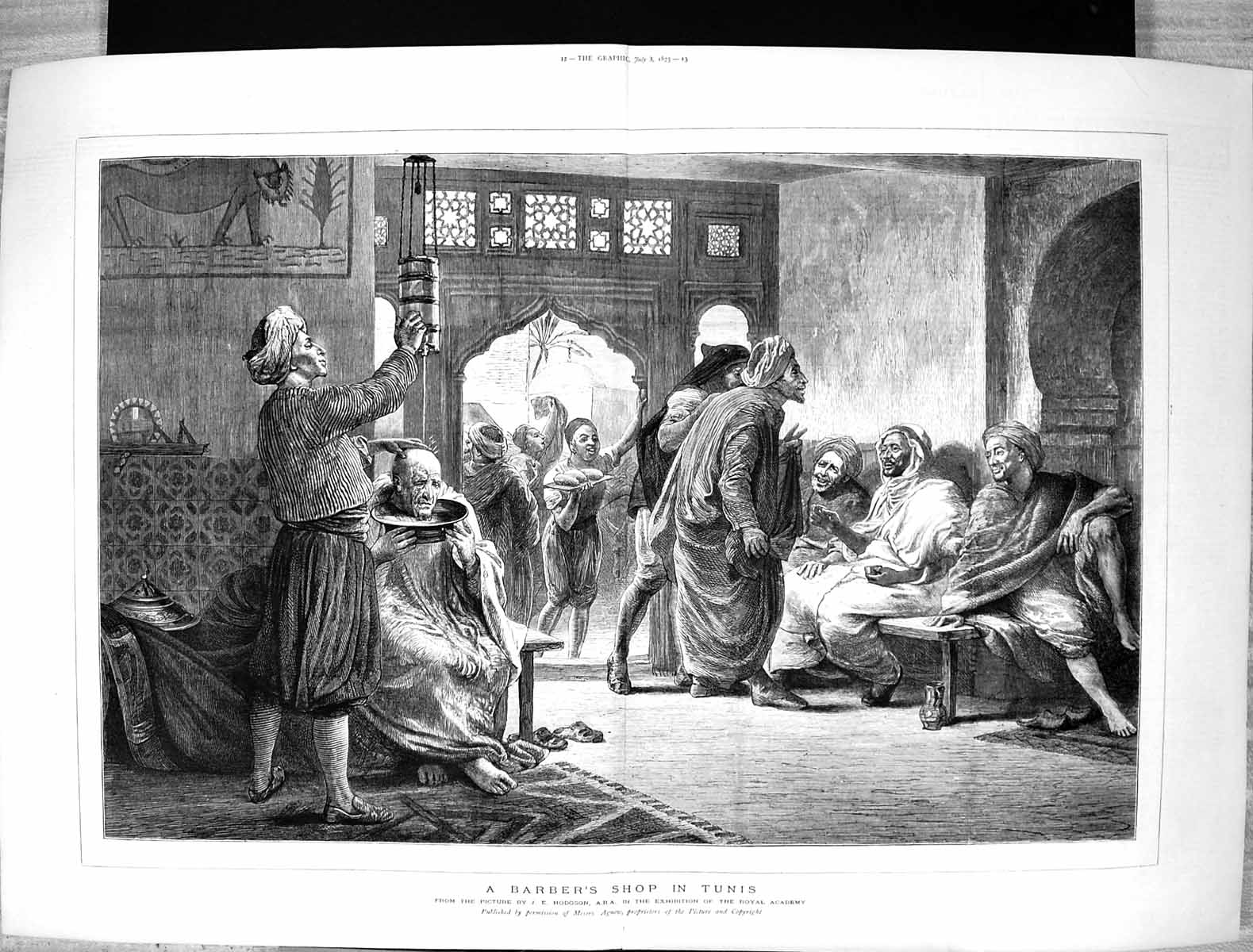 [Print 1875 Scene Barbers Shop Tunis Africa Men Hodgson Agnew 253J340 Old Original]