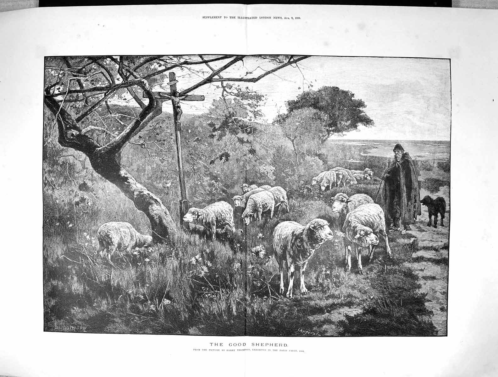 [Print 1884 Good Shepherd Man Sheep Dog Countryside Harry Thompson 114J342 Old Original]