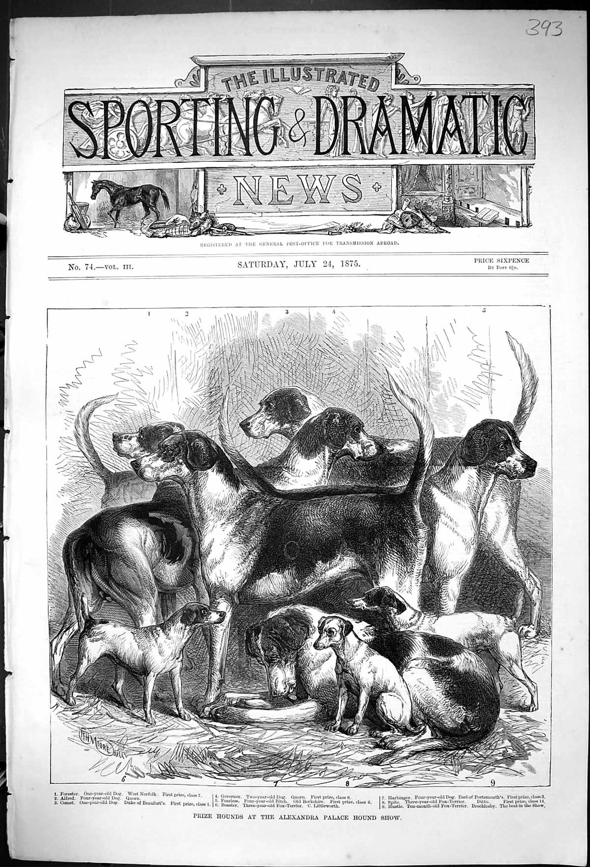 [Print 1875 Prize Hounds Dogs Alexandra Palace Show Forester Alfred Harb 393J403 Old Original]