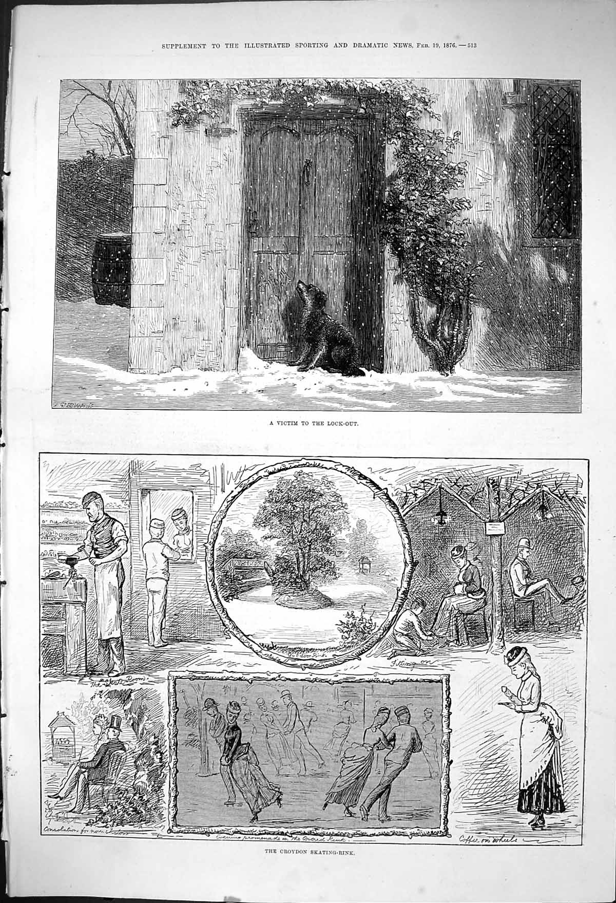 [Print 1876 Dog Lock-Out House Snow-Storm Croydon Ice Skating Rink Roman 513J404 Old Original]