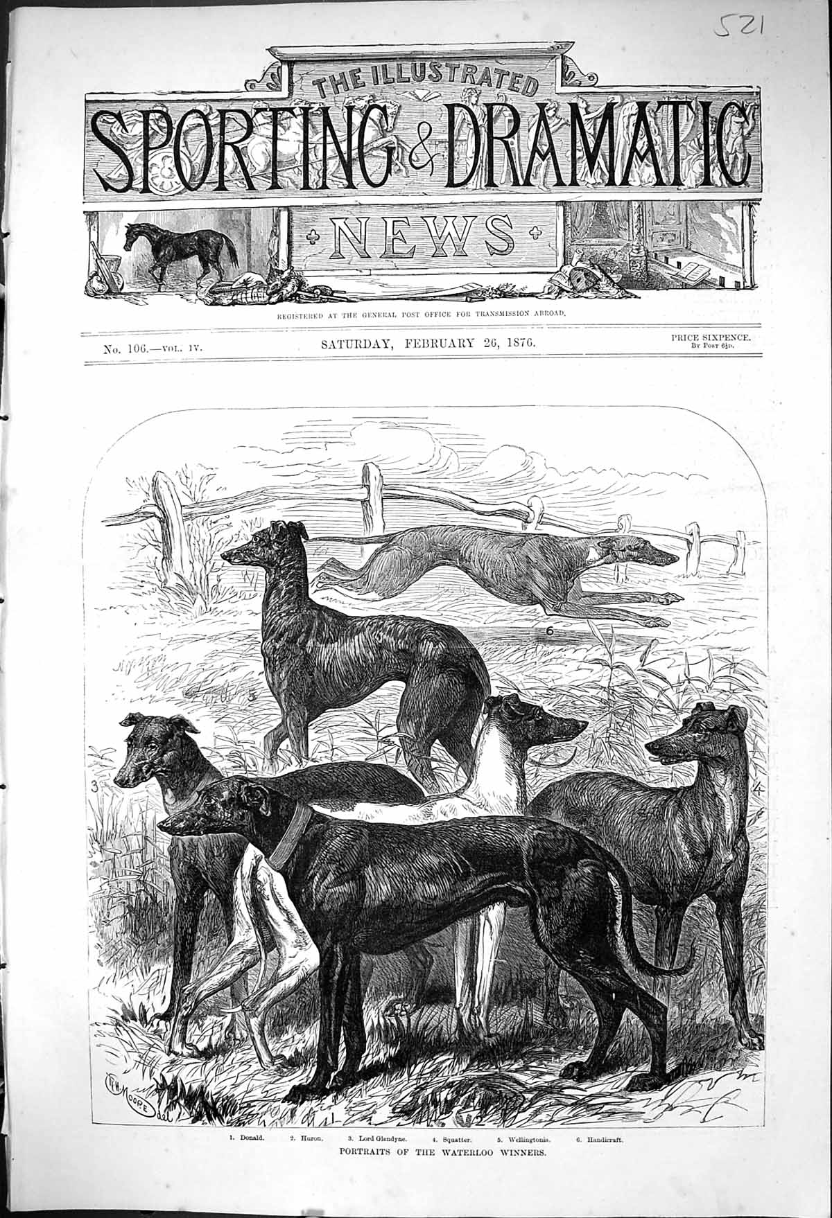 [Print 1876 Waterloo Sport Greyhounds Dogs Donald Huron Glendyne Squatte 521J404 Old Original]