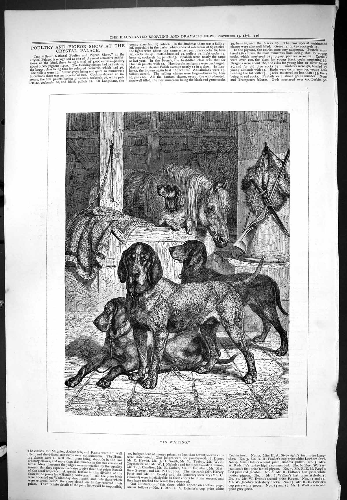 [Print Dogs Hounds Horses Pets Animals In Waiting 1876 216J406 Old Original]
