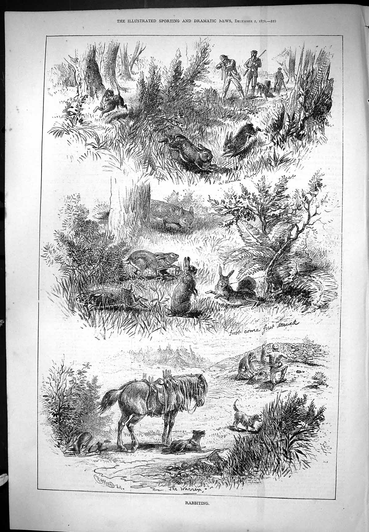 [Print Rabbiting Hunting Sport Horse Dogs Hounds 1876 Moore 220J406 Old Original]