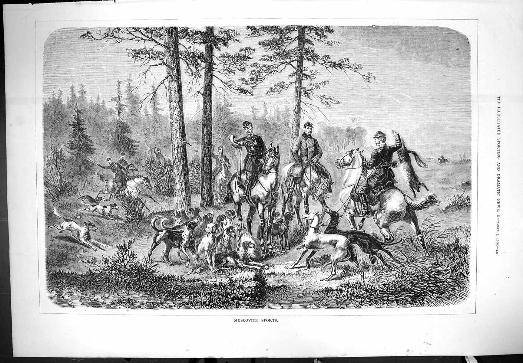 [Print Muscovite Sports Hunting Dogs Hounds Horses Outdoor Scene 1876 221J406 Old Original]