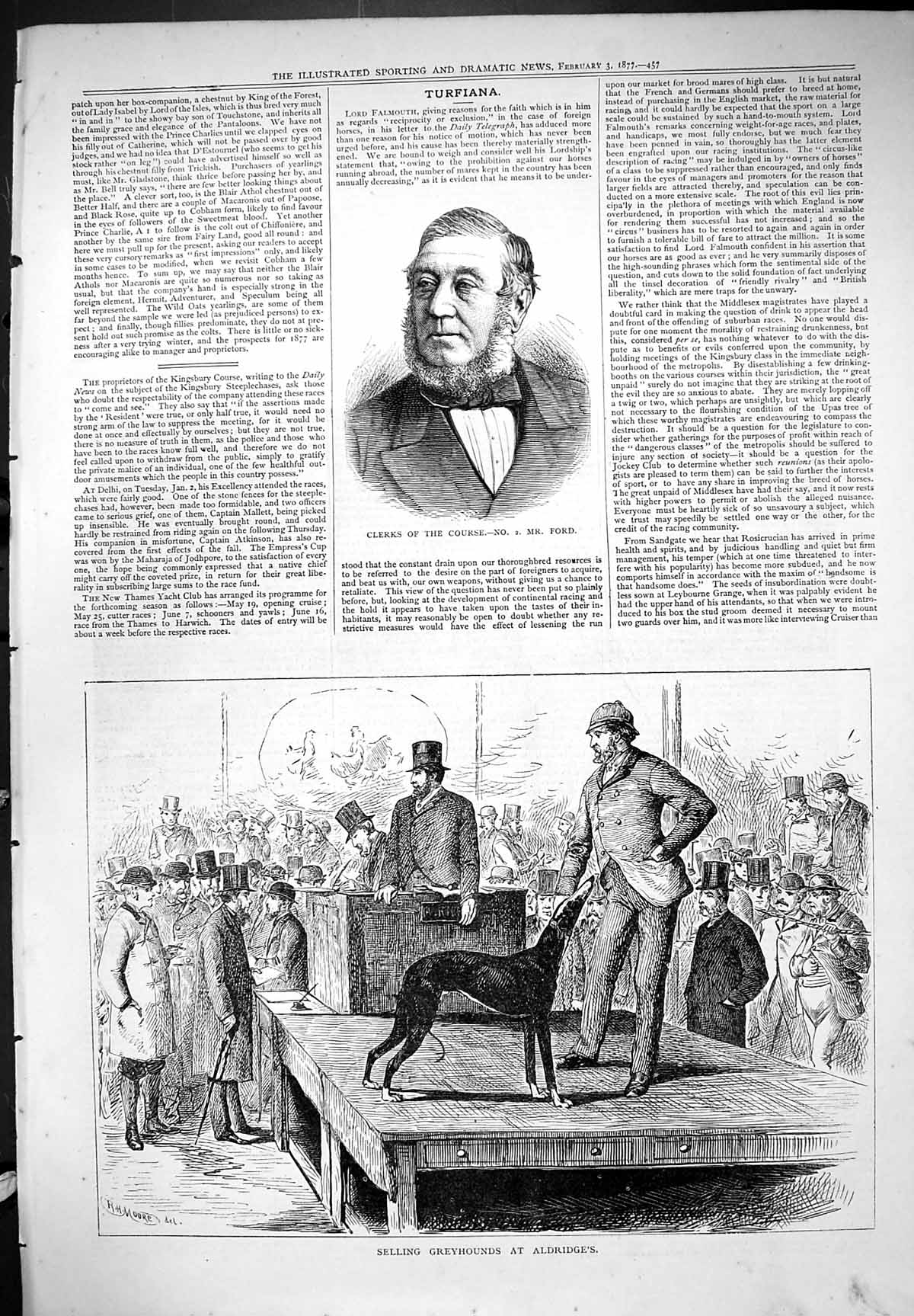 [Print Clerks Course Ford Selling Greyhounds Aldridges Dogs Moore 187 457J406 Old Original]