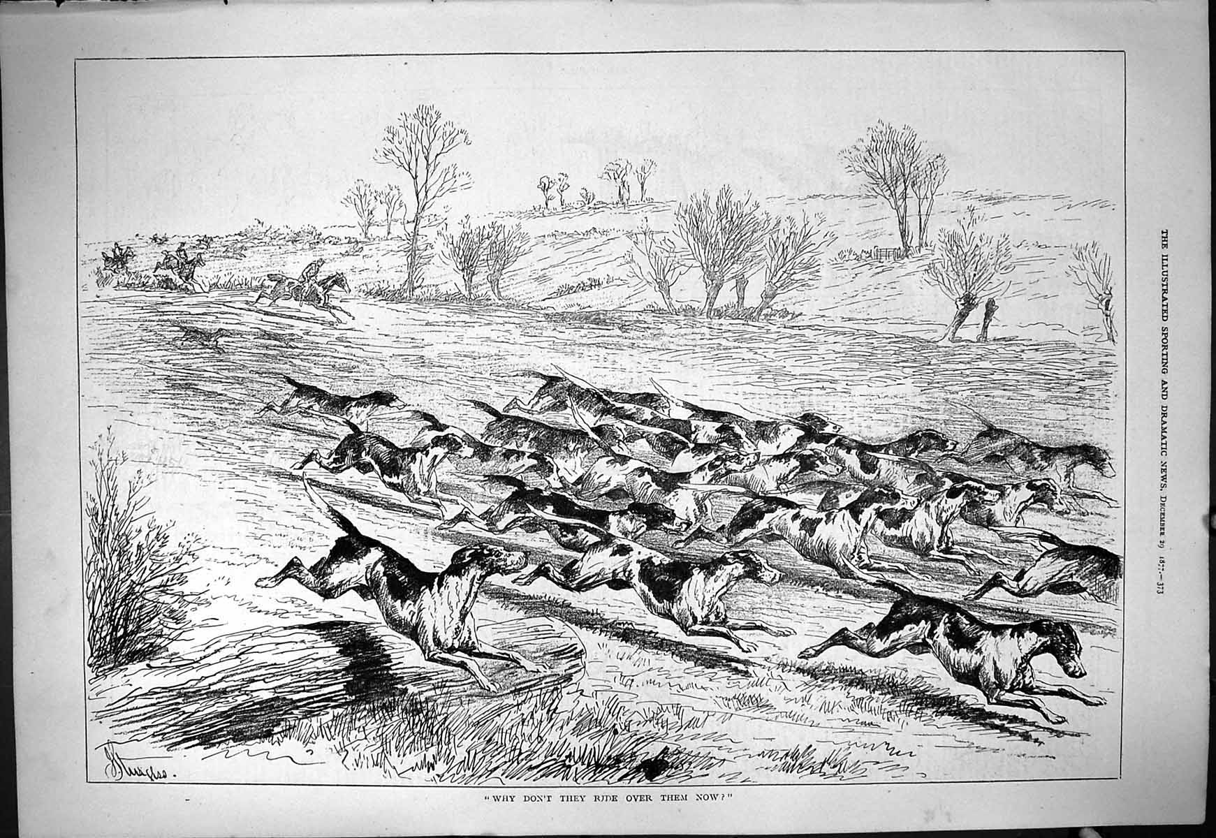 [Print 1877 Hunting Horses Hounds Dogs Running Through Field Sport 373J408 Old Original]