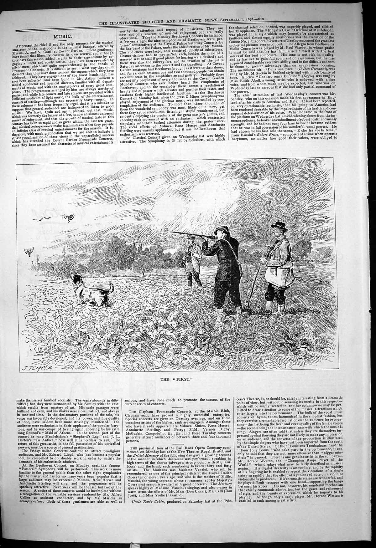 [Print 1878 First Grouse Shooting Hunting Sport Dogs 610J409 Old Original]