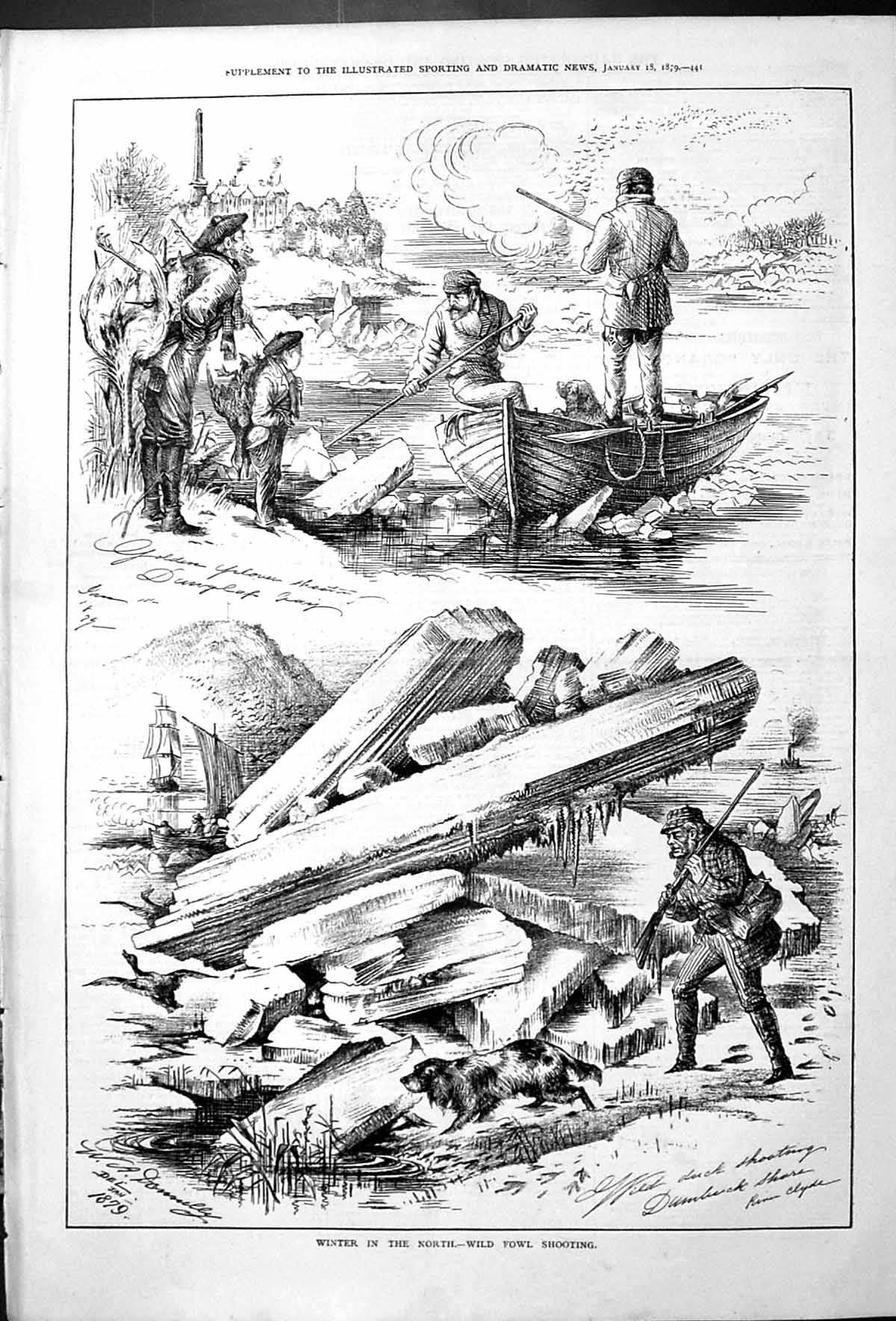 [Print Winter In The North Wild Fowl Shooting Hunting Birds Dogs River B 441J410 Old Original]