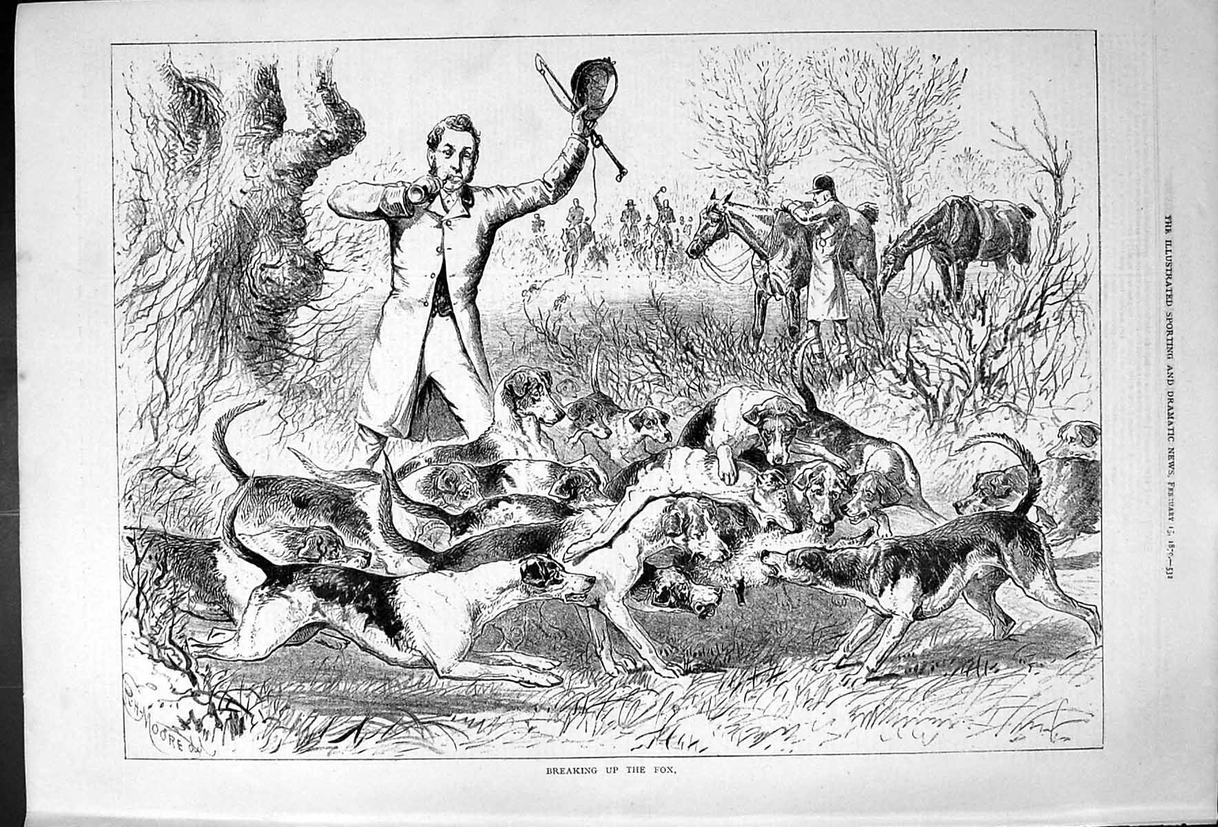 [Print Breaking Up The Fox Hunting Horses Hounds Dogs Sport Moore 1879 532J410 Old Original]
