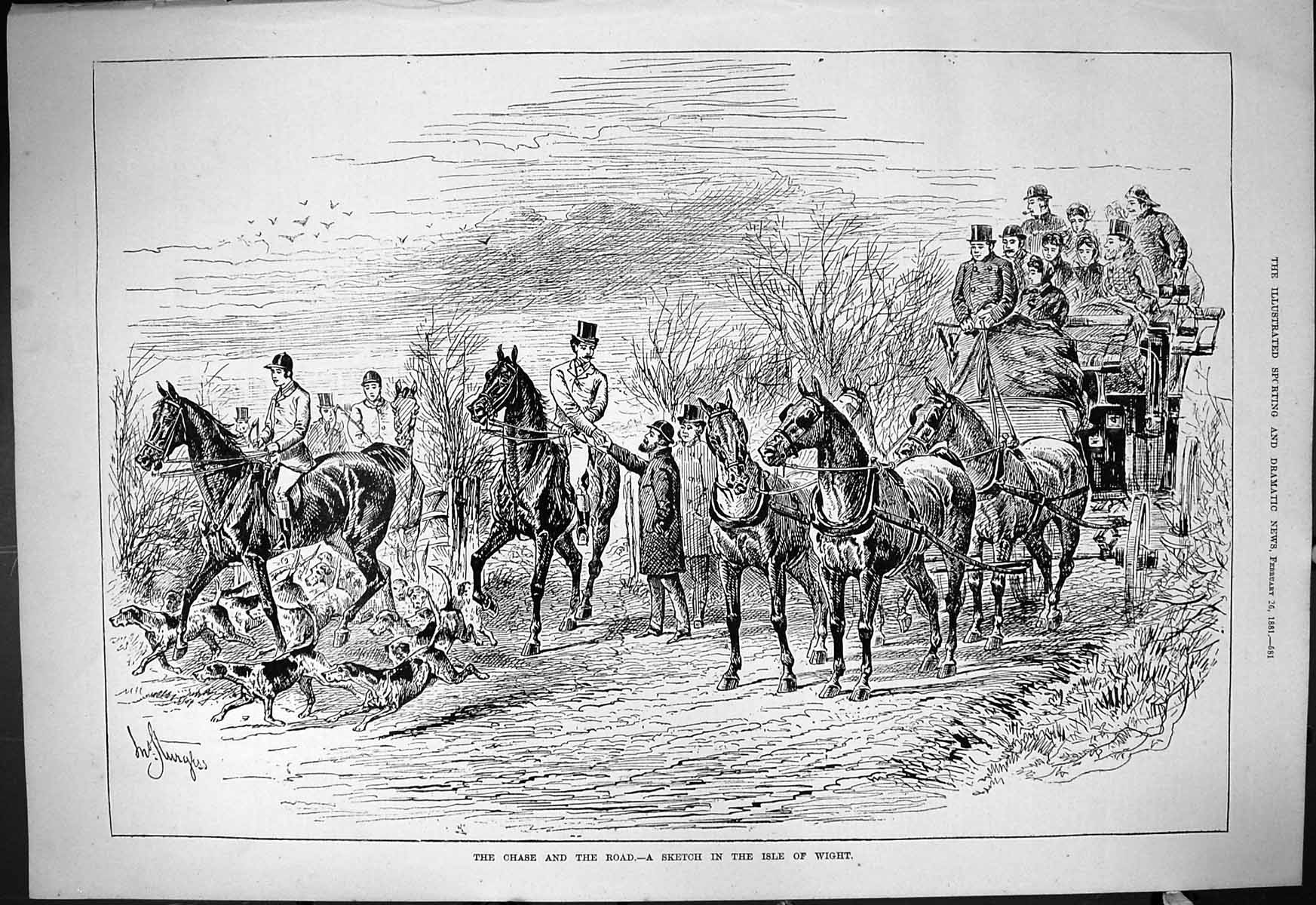 [Print 1881 Hunting Chase Road Scene Isle Wight Horses Hounds Dogs Coach 581J414 Old Original]