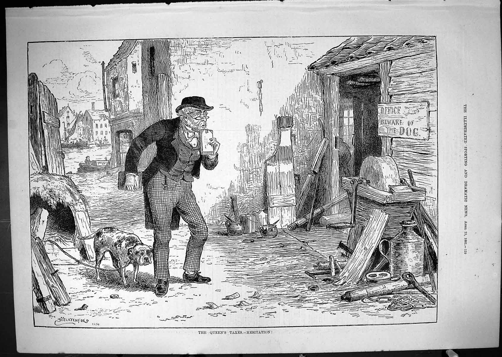[Print 1881 Queen'S Taxes Hesitation Office Beware Of The Dog Blacksmith 129J415 Old Original]