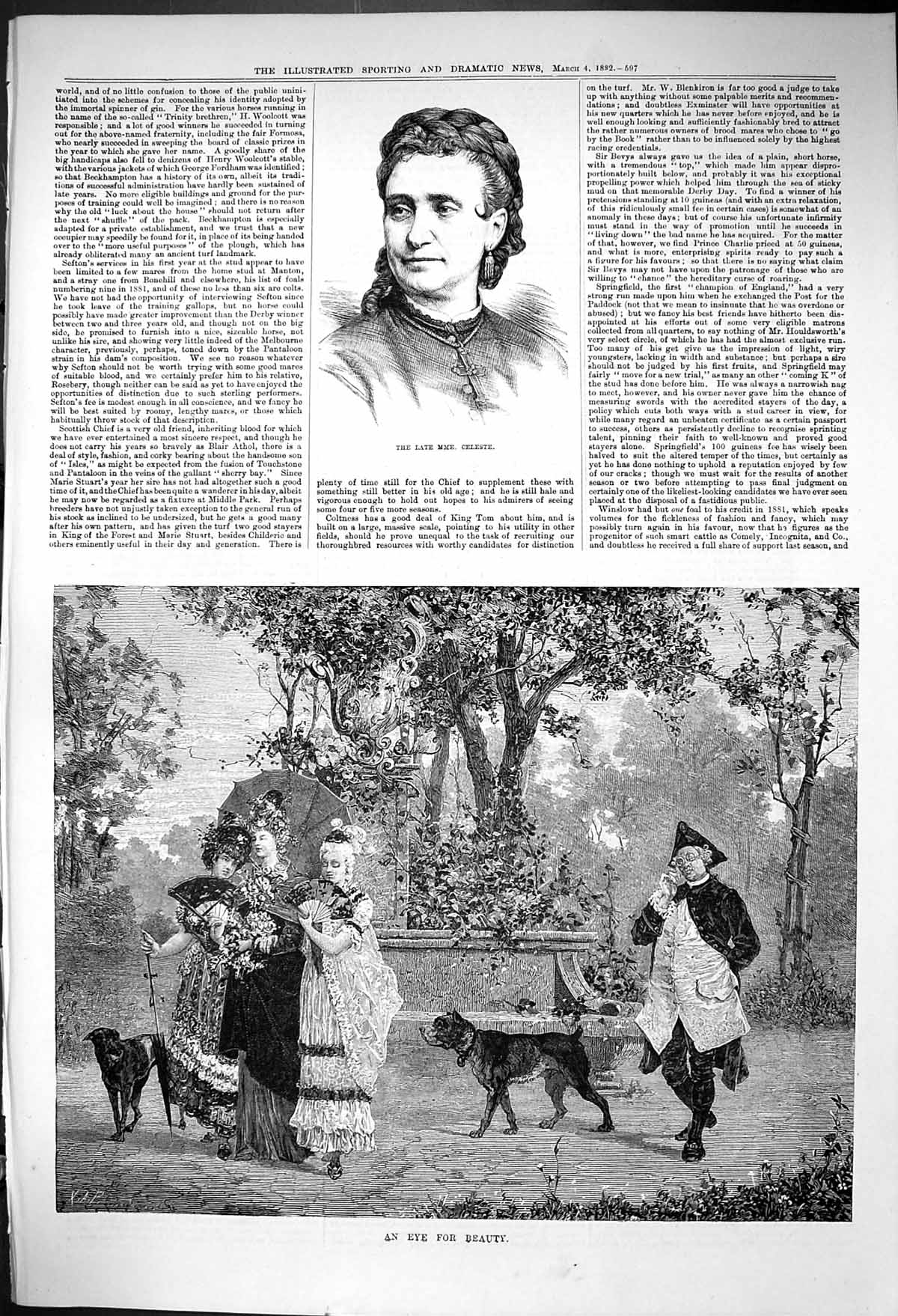 [Print 1882 Mme. Celeste Ladies Romance Eye Beauty Garden Scene Dogs 597J416 Old Original]