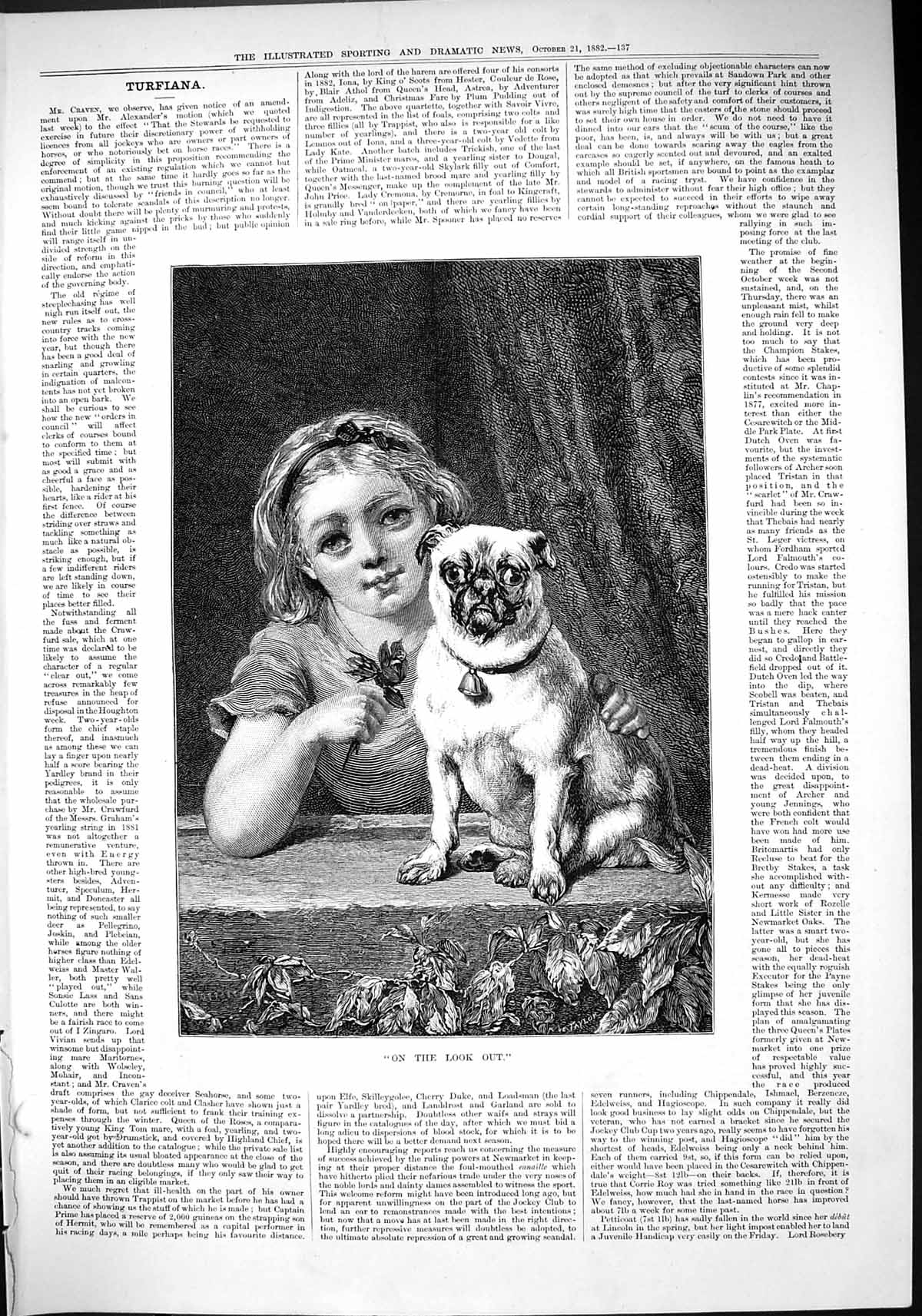 [Print 1882 Young Girl Puppy Dog Look Out Taylor 137J418 Old Original]