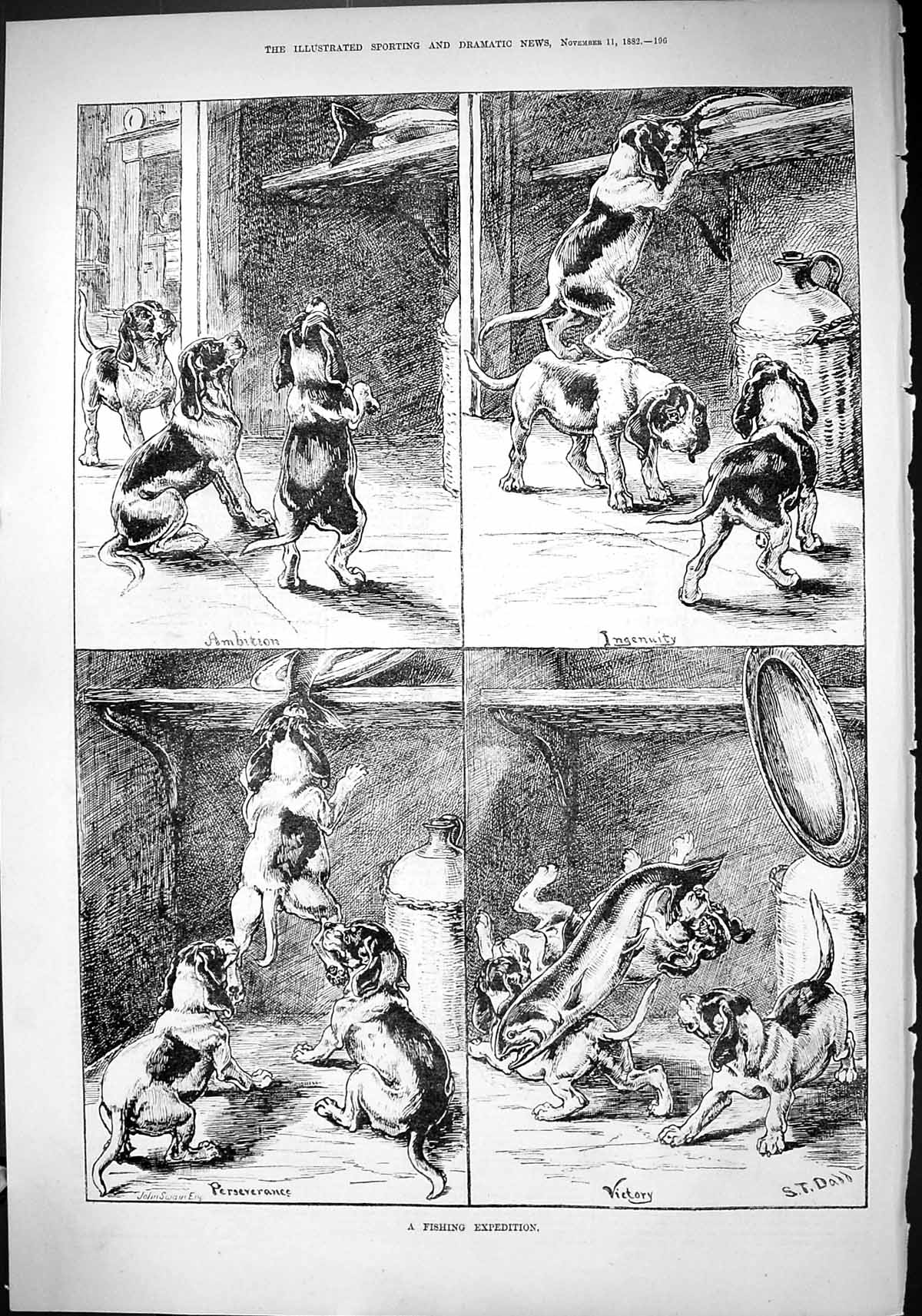[Print 1882 Fishing Expedition Hounds Dogs Stealing Fish Shelf 196J418 Old Original]