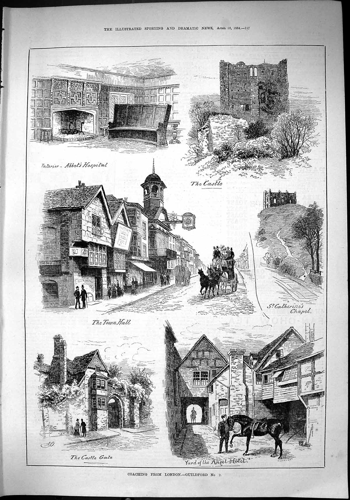 [Print 1884 Coaching Guildford Castle Abbot'S Hospital Angel Hotel Cathe 117J421 Old Original]