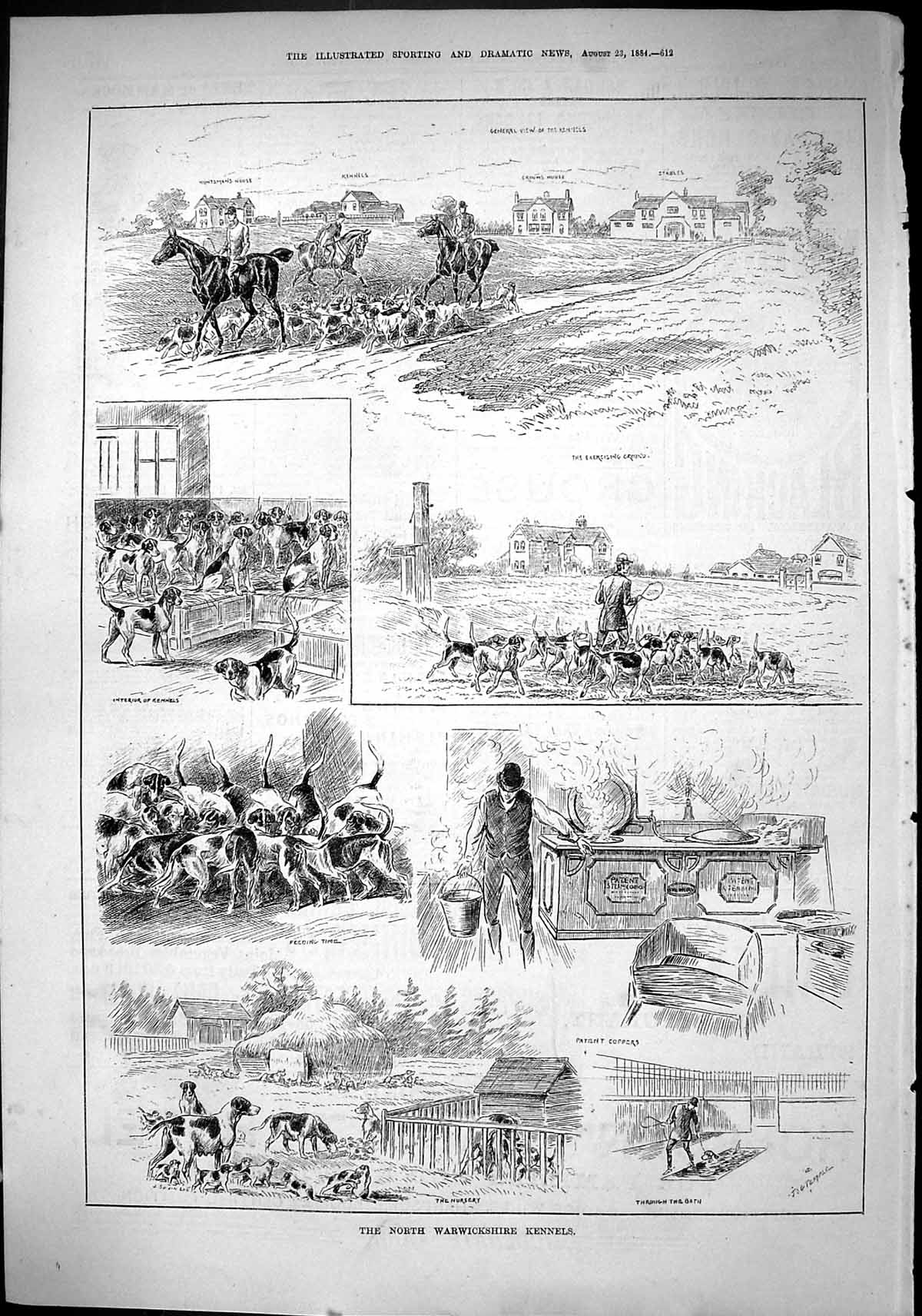 [Print Sporting Dramatic News 1884 Warwickshire Kennels Hounds Dogs Nurs 612J421 Old Original]