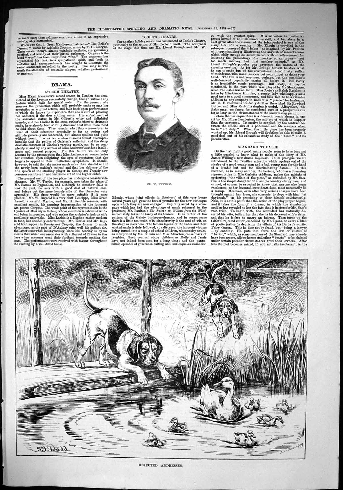 [Print Sporting Dramatic News 1884 Newham Hound Dogs Duck Pond 677J421 Old Original]