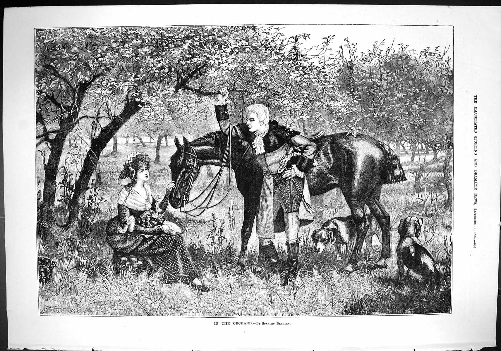 [Print Sporting Dramatic News 1884 Scene Orchard Lady Man Horse Dogs Rom 680J421 Old Original]