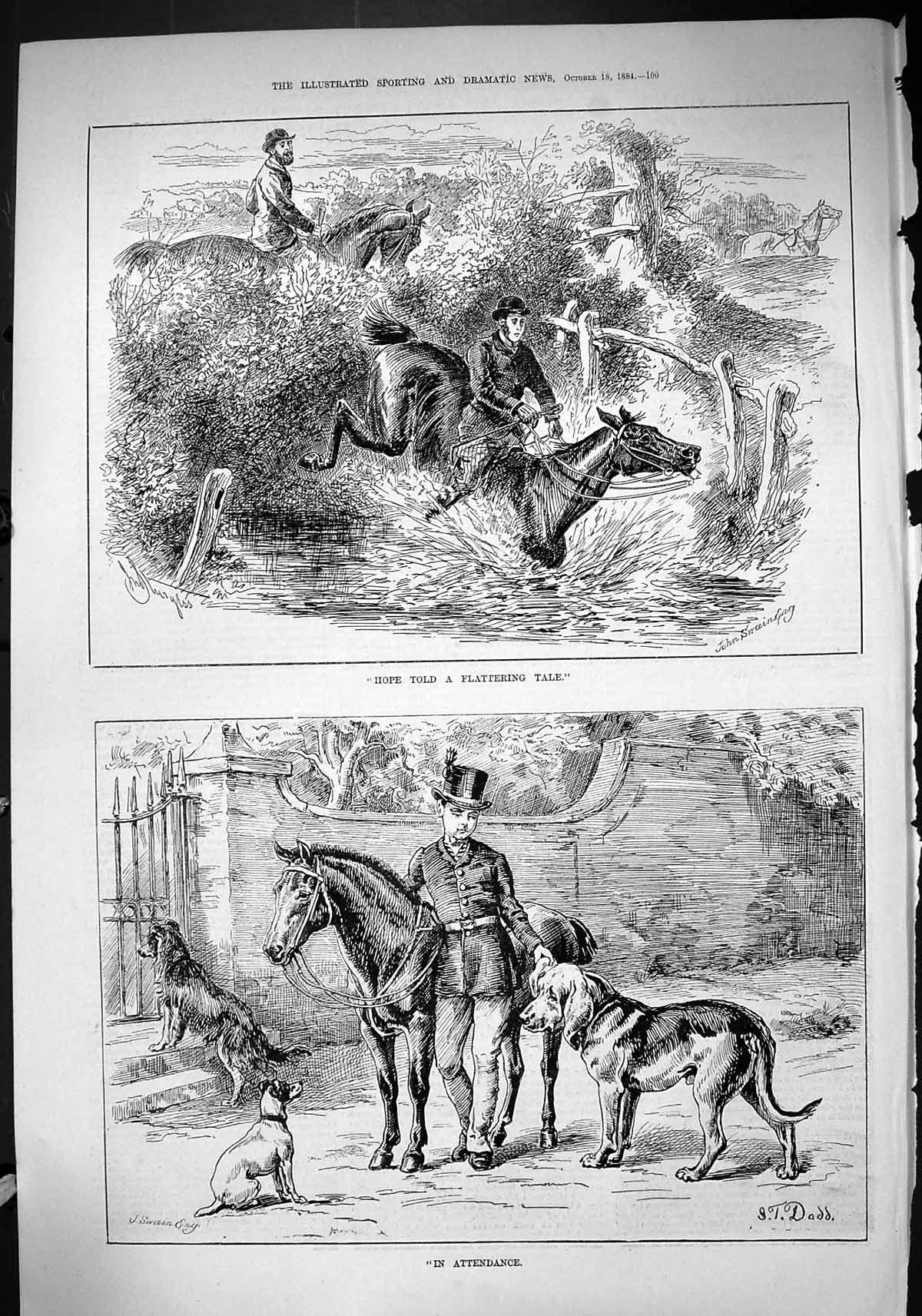 [Print 1884 Hunting Horses Jumping Fence Hounds Dogs Sport Swain Dadd 100J422 Old Original]