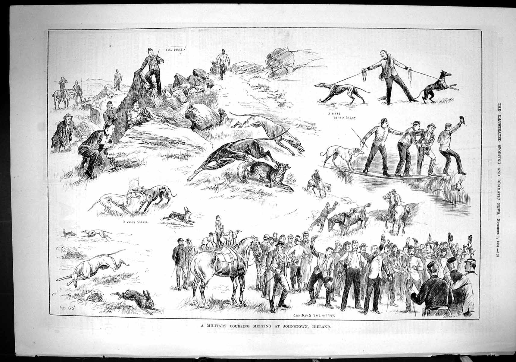 [Print 1884 Military Hare Coursing Meeting Johnstown Ireland Hounds Dogs 168J422 Old Original]