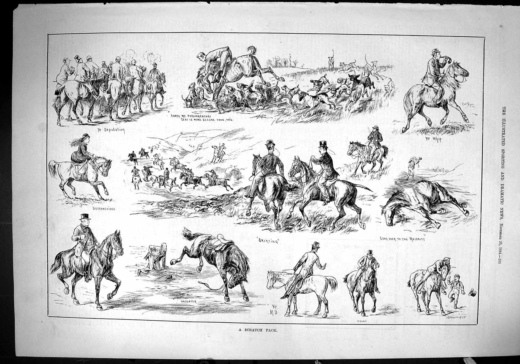[Print 1884 Scratch Pack Hounds Dogs Horses Sport Hunting Swain 263J422 Old Original]