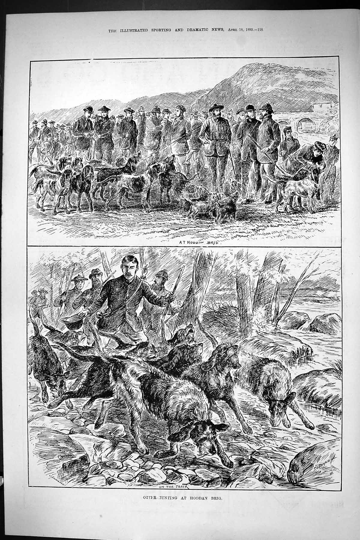 [Print Sporting Dramatic News 1885 Otter Hunting Hoddan Brig Hounds Dogs 128J423 Old Original]