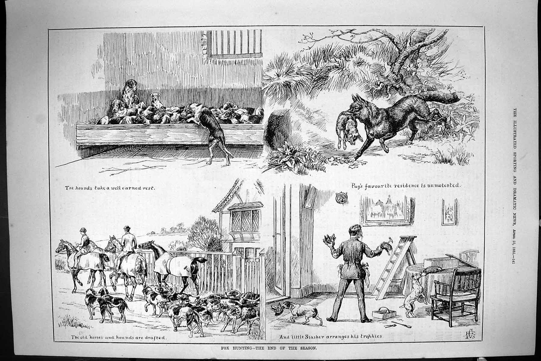 [Print Sporting Dramatic News 1885 Fox Hunting Hounds Dogs Hare Horses S 141J423 Old Original]