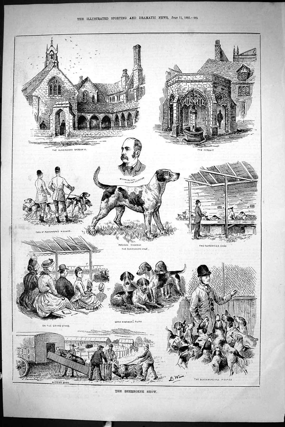 [Print Sporting Dramatic News 1885 Sherbourne Dog Show Almshouses Pape P 446J423 Old Original]