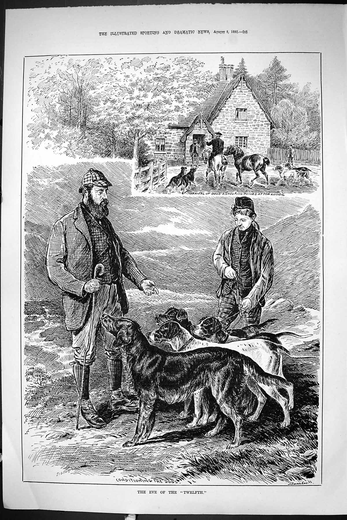 [Print Sporting Dramatic News 1885 Eve Twelfth Hunting Horses Lodge Dogs 548J423 Old Original]