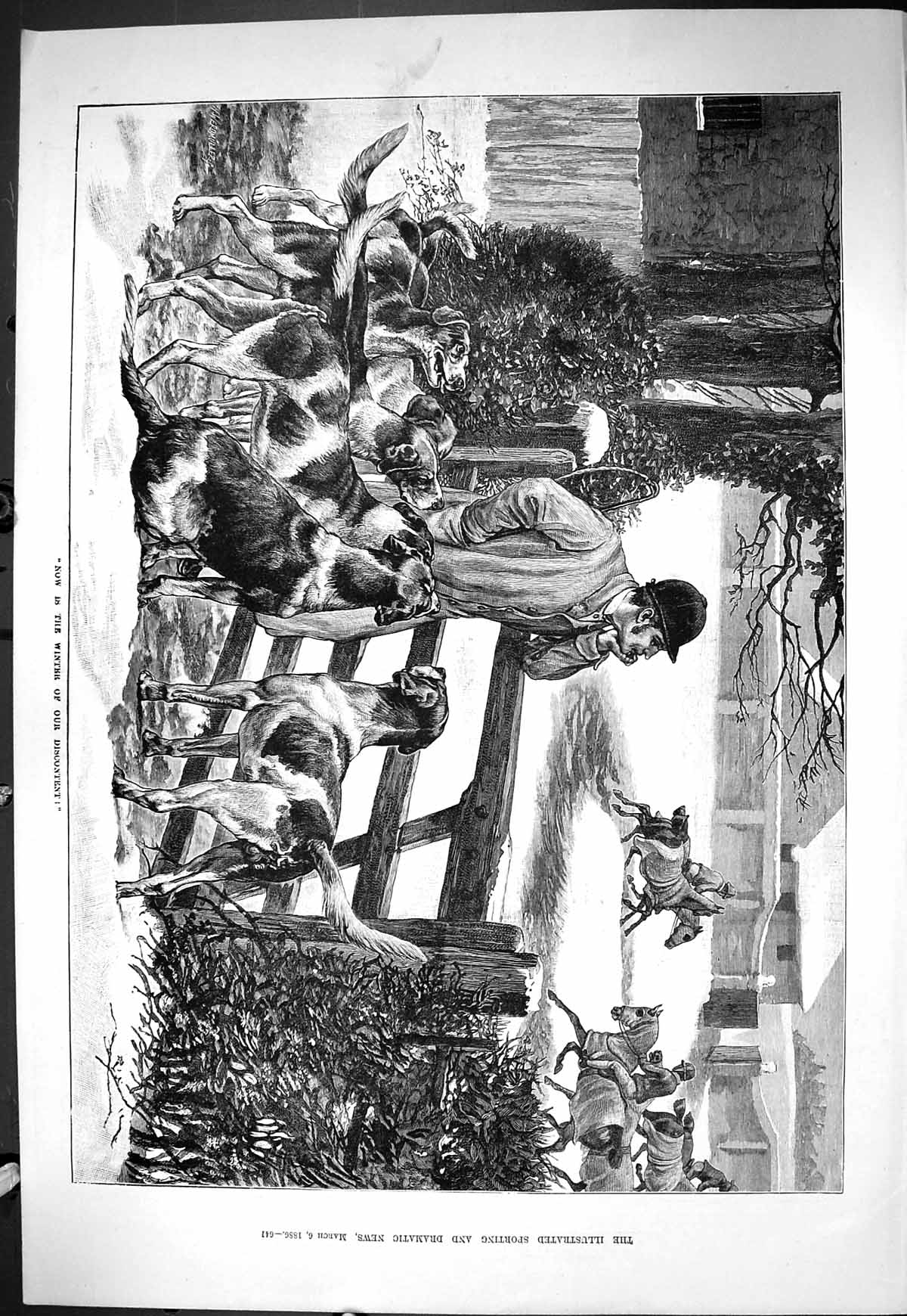 [Print Sporting Dramatic News 1886 Hunting Horses Training Dogs Hounds S 641J424 Old Original]