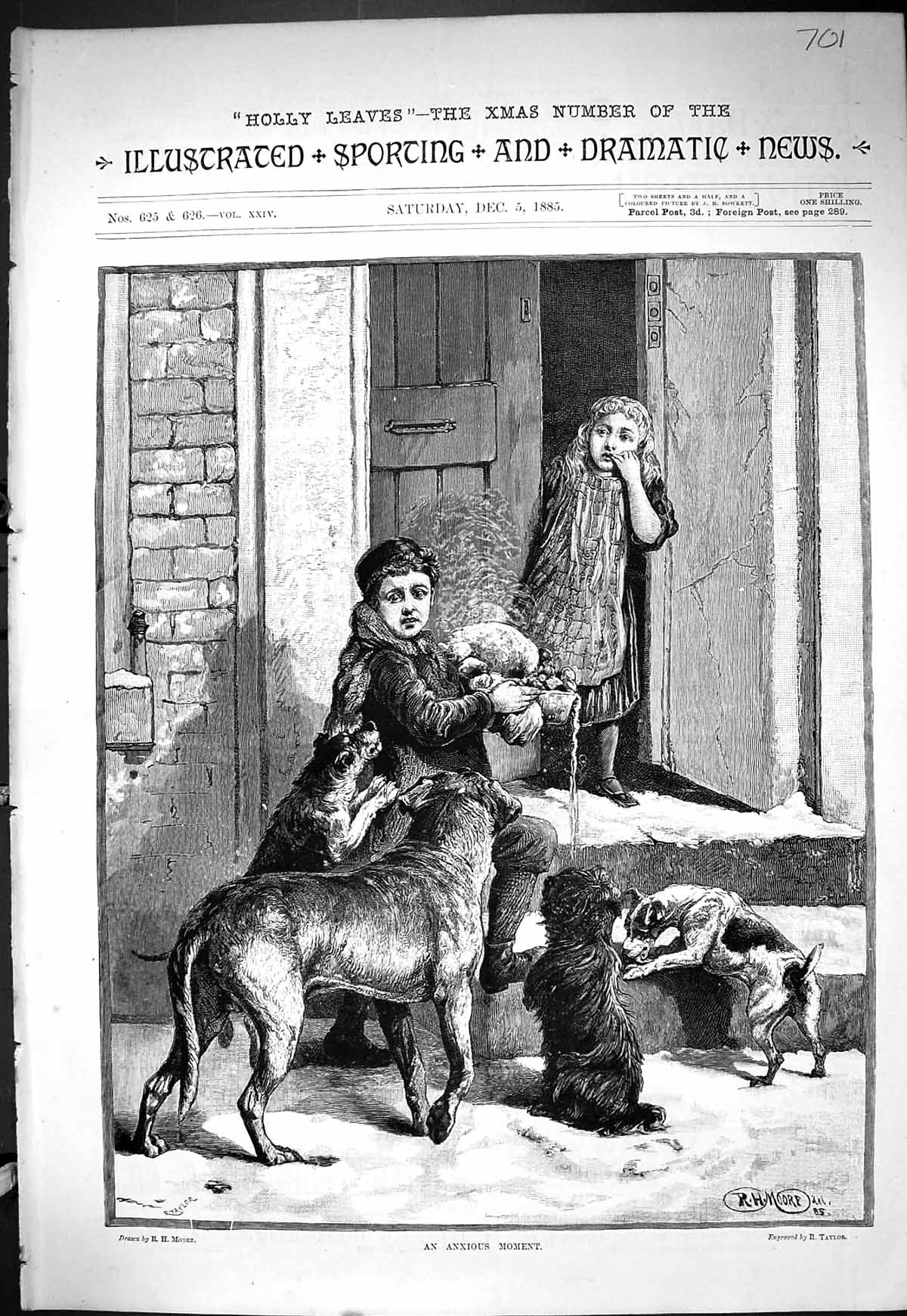 [Print Sporting Dramatic News 1885 Boy Door Step Food Hungry Dogs Taylor 701J424 Old Original]