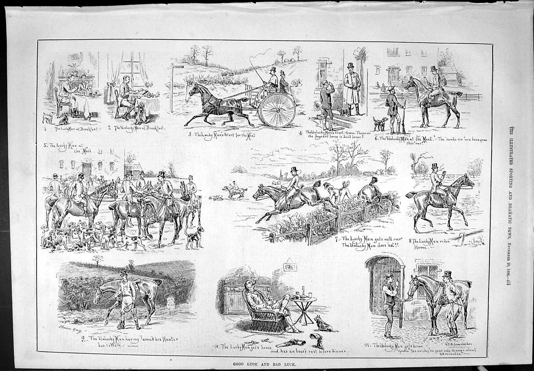 [Print Sporting Dramatic News 1886 Hunting Horses Sport Luck Hounds Dogs 273J426 Old Original]