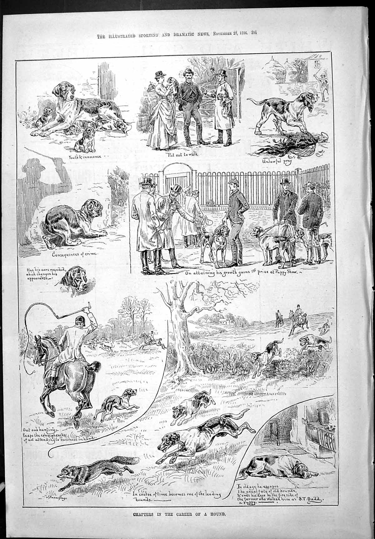 [Print Sporting Dramatic News 1886 Chapters Career Hound Dogs Hunting Pu 304J426 Old Original]
