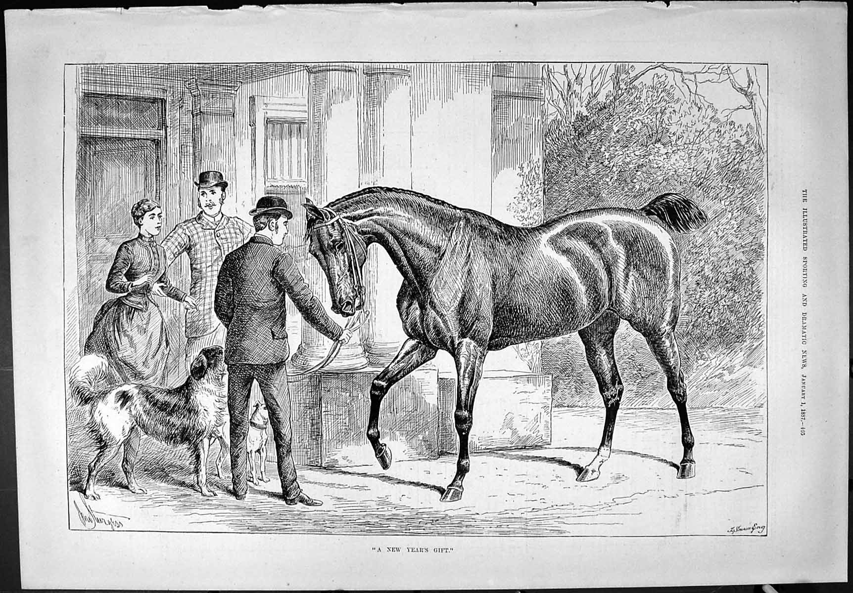 [Print Sporting Dramatic News 1887 New Year'S Gift Horse Dogs Family Hom 405J426 Old Original]