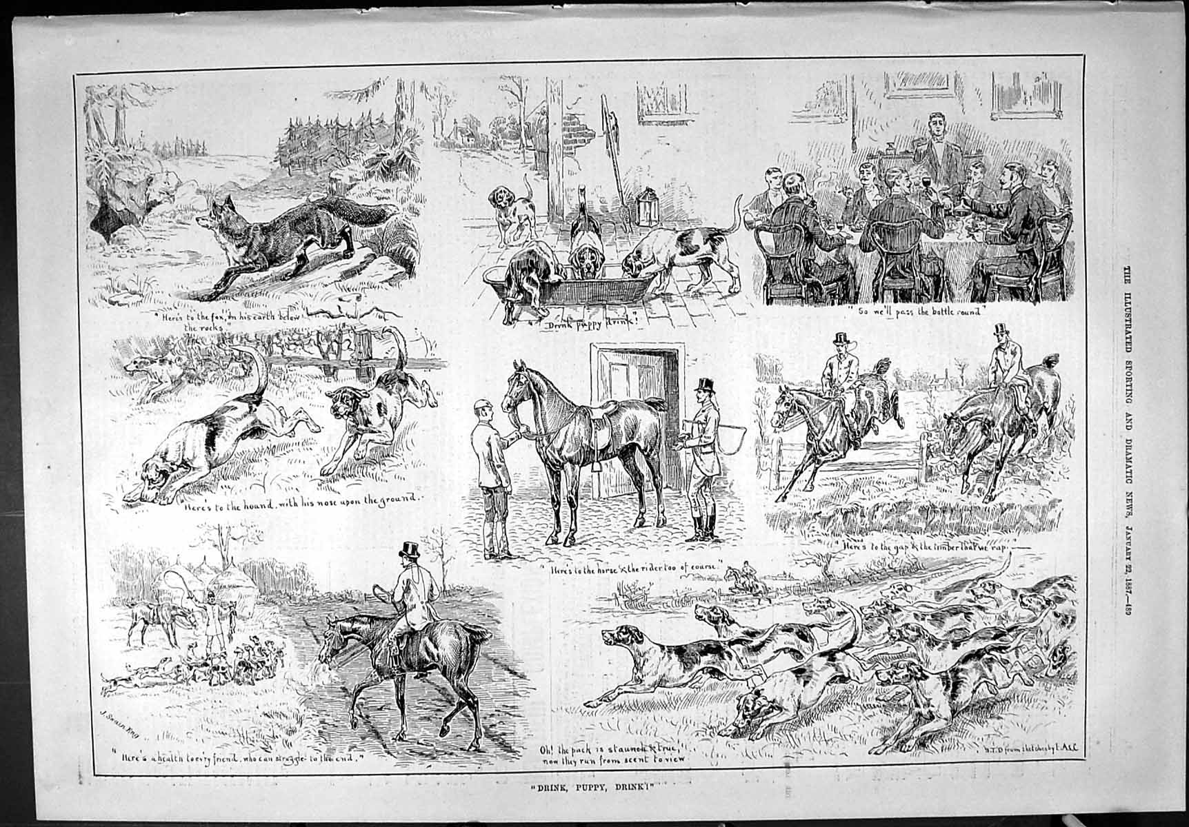 [Print Sporting Dramatic News 1887 Hunting Horses Hounds Dogs Puppy Hunt 489J426 Old Original]