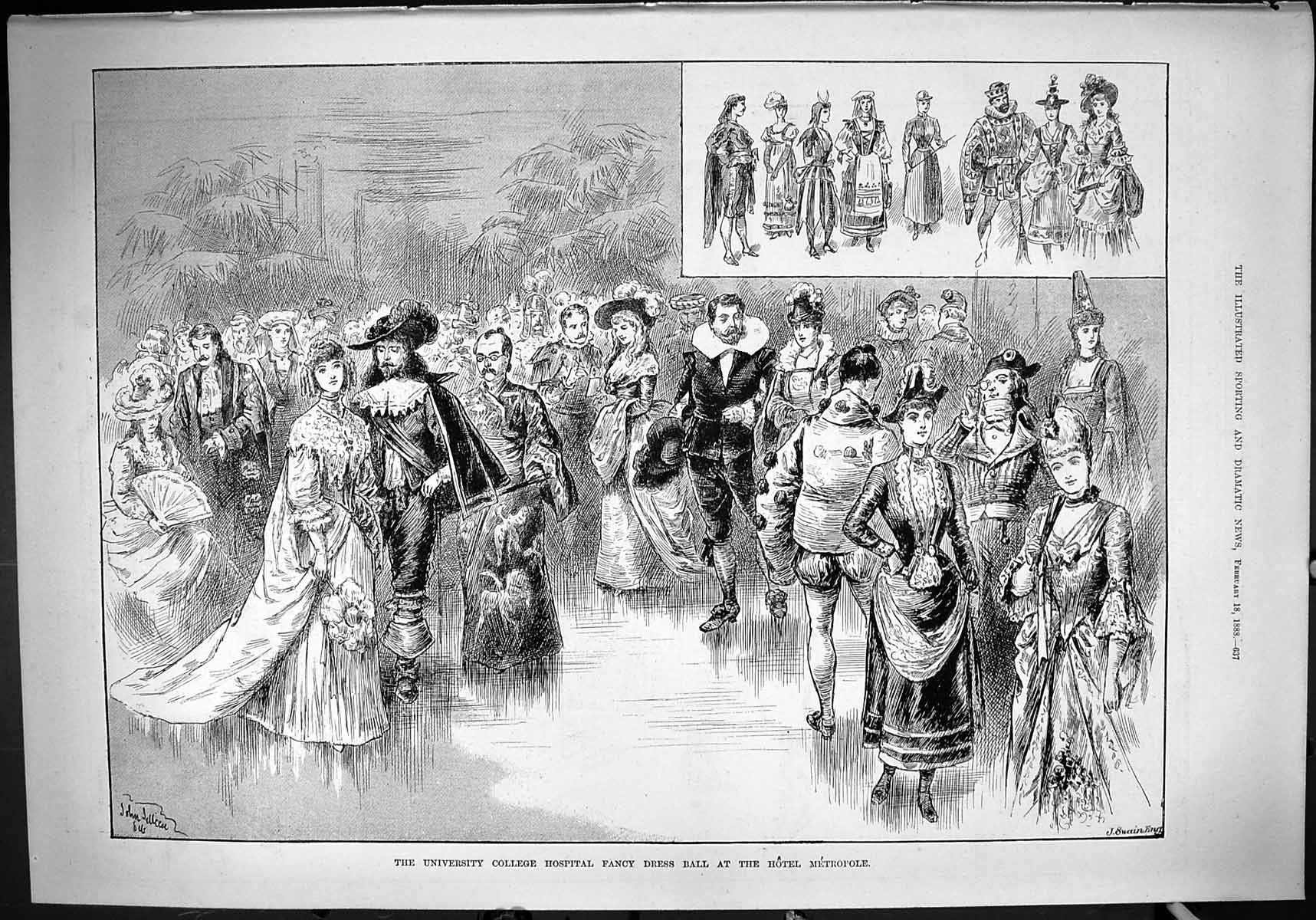 [Print 1888 University College Hospital Fancy Dress Ball Hotel Metropole 637J428 Old Original]