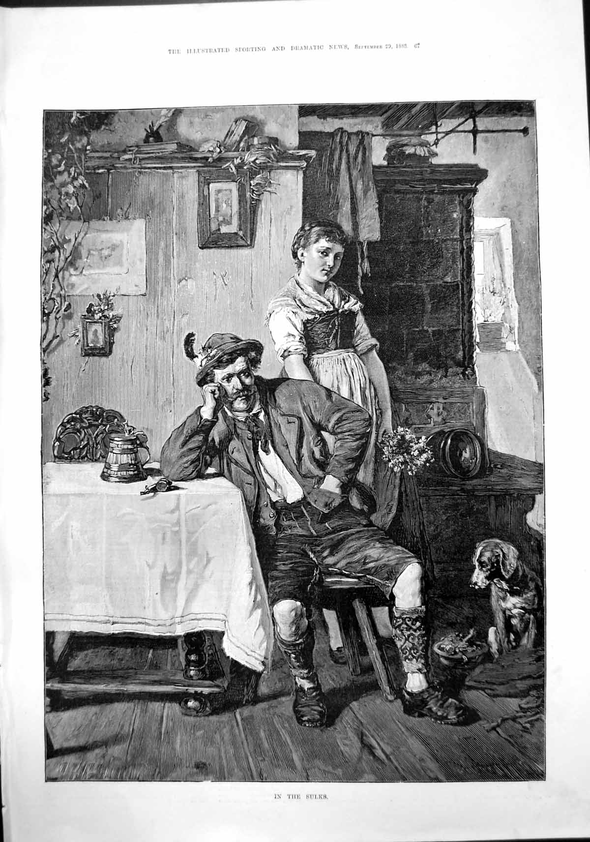 [Print In Sulks Forester Germany Been Angry Wife Dog Looks On 1888 067J430 Old Original]