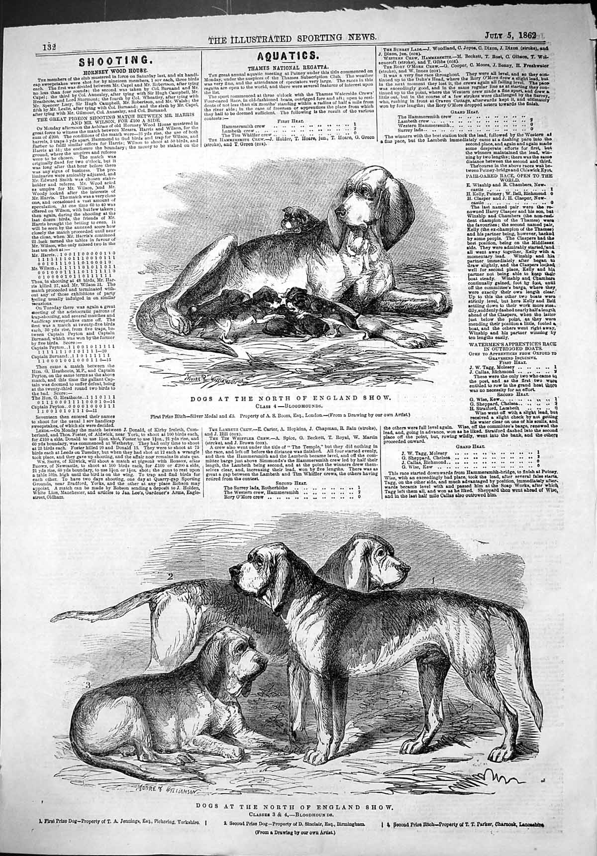 [Print 1862 Dogs North England Show Bloodhounds Jennings Sinclair Parker 132J501 Old Original]