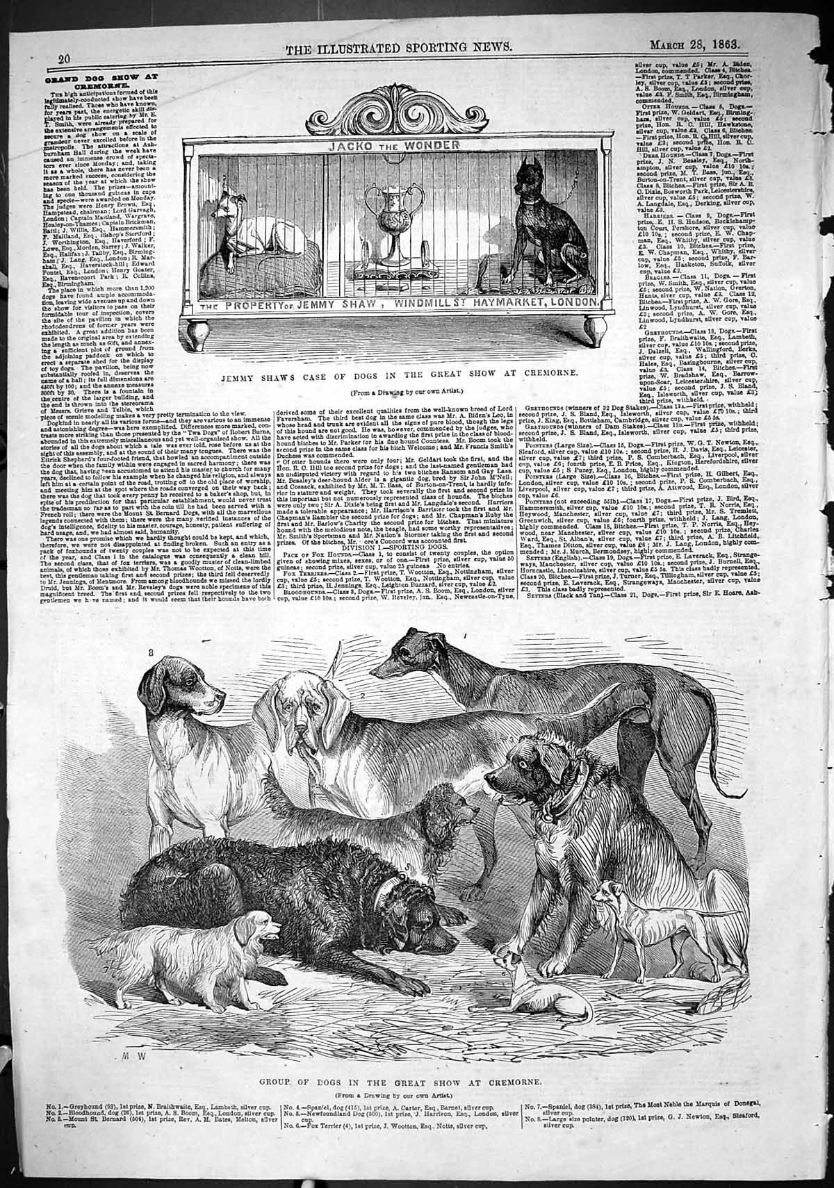 [Print 1863 Jemmy Shaw Case Dogs Great Show Cremorne Windmill Haymarket 020J502 Old Original]