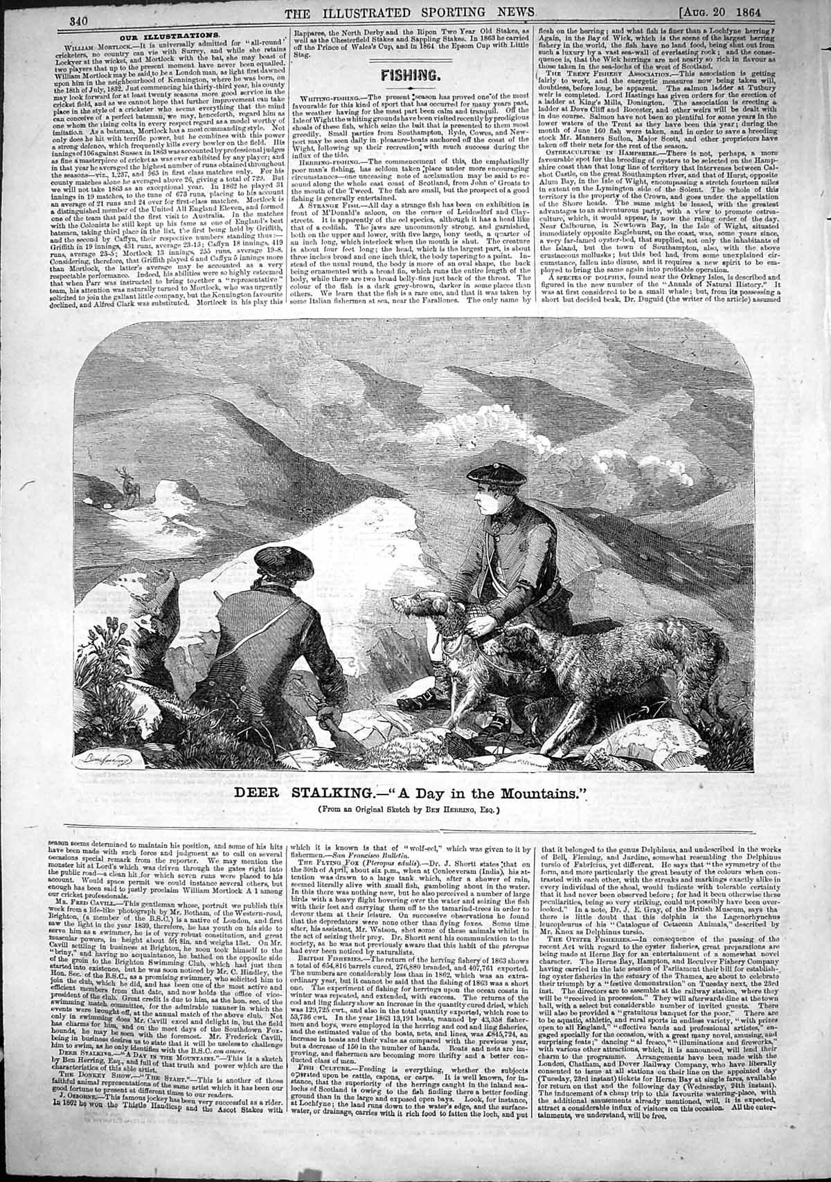[Print 1864 Deer Stalking Mountains Hounds Dogs Scotland Ben Herring 340J503 Old Original]