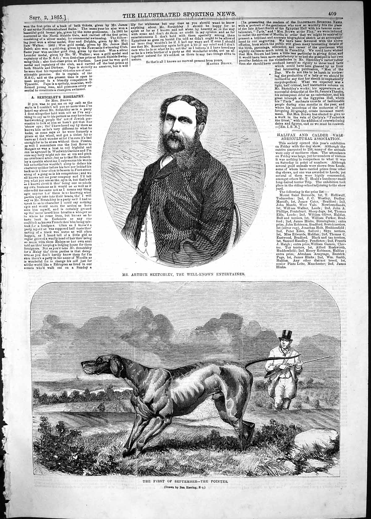 [Print 1865 Mr Arthur Sketchley Entertainer Pointer Hunting Dog Sport 409J504 Old Original]