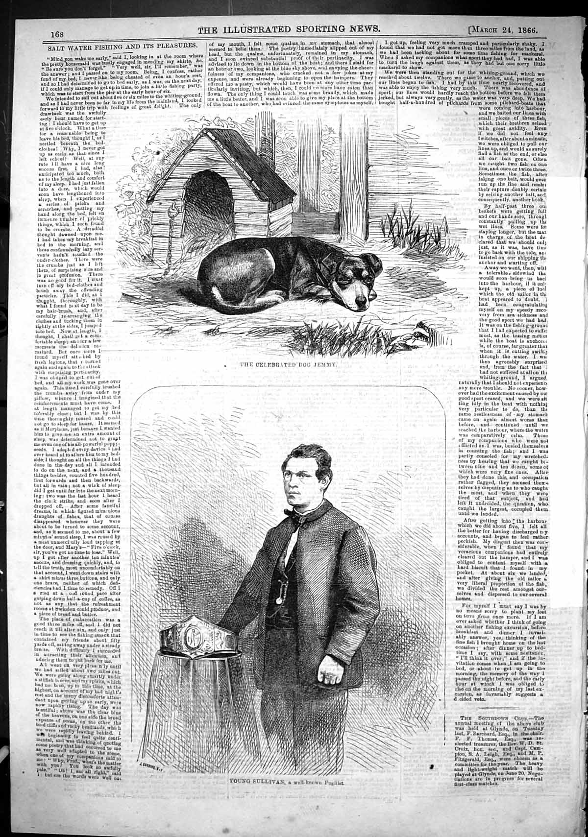 [Print 1866 Young Sullivan Pugilist Sport Man Celebrated Dog Jemmy 168J505 Old Original]